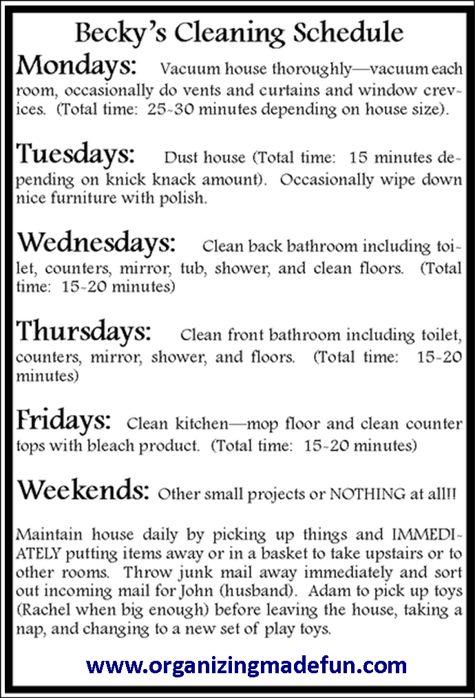 daily cleaning calendar